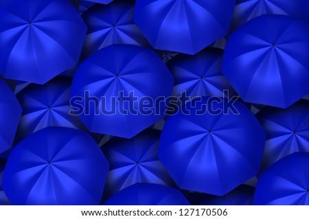 3d blue umbrellas background - stock photo