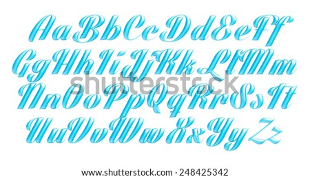 3D blue uppercase and lowercase letters, digits on isolated white - stock photo