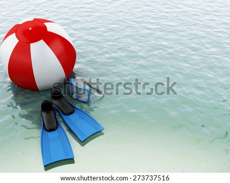 3d blue water with beach ball and  swimming equipment. summer holidays concept - stock photo