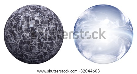 3d blue, white and black glass spheres set or collection isolated on white background,ideal for 3D symbols, signs or web buttons - stock photo