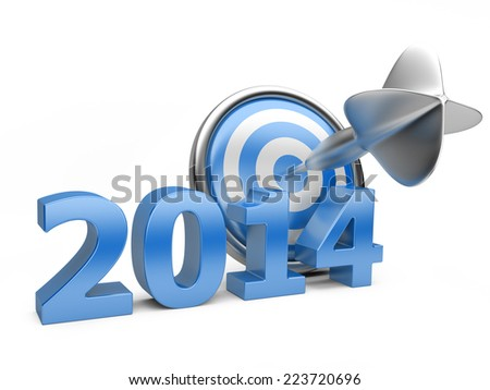 3D blue Year 2014 with a target. Concept image for achieving business objectives. - stock photo