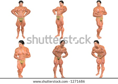 3D Body Building (with clipping paths) - stock photo