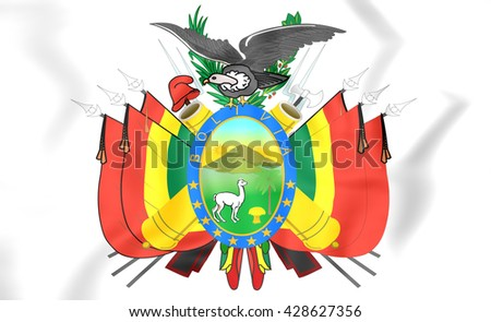 3D Bolivia Coat of Arms. Close Up.    - stock photo