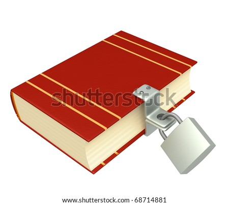3d book, closed on the lock. Objects isolated over white - stock photo