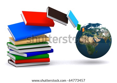 3d book flying from the world on white isolated background - stock photo