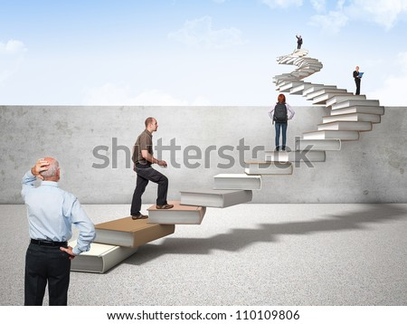 3d book stair and different people on it - stock photo