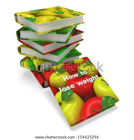 3d book with apple cover. Healthy life concept - stock photo