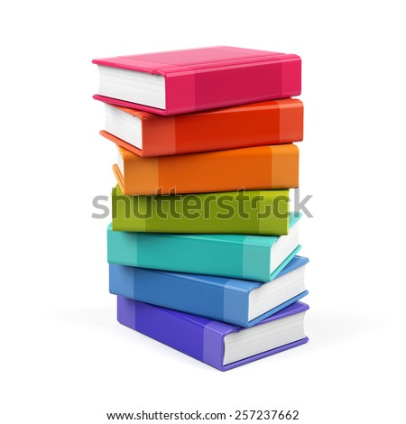 3d books isolated on white background