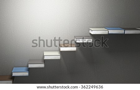 3d books stair and concrete background - stock photo