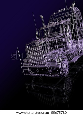 3d  booth of truck - stock photo