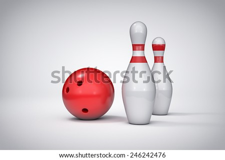3D bowling isolated background illustration. - stock photo