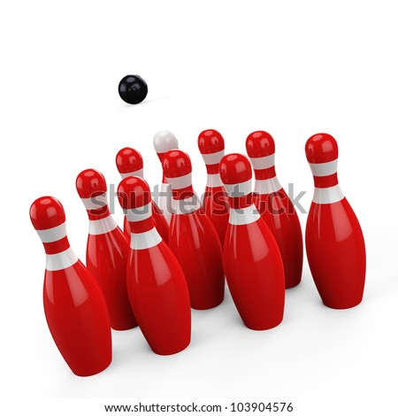 3d Bowling pin on white background - stock photo