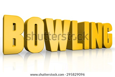 3D bowling text on white background - stock photo