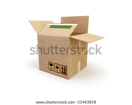 3d box cartons on the white background - stock photo