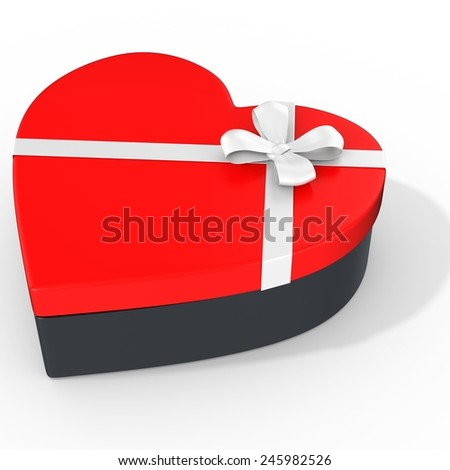 3d box in the shape of heart  on white background - stock photo