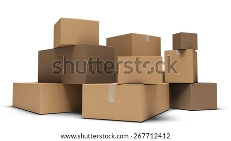 3D. Box, Moving House, Moving Office.