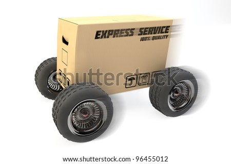 3D box with express delivery on wheels - stock photo