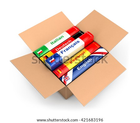 3d box with language books, isolated white background