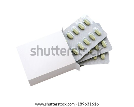 3d box with medecine drugs in blister on white background - stock photo