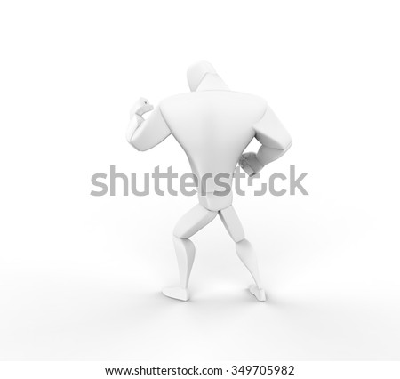 3D Boxer, fight stand, back view. - stock photo