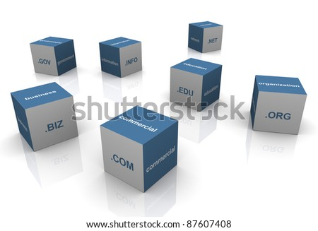 3d boxes with popular domain name extensions - stock photo