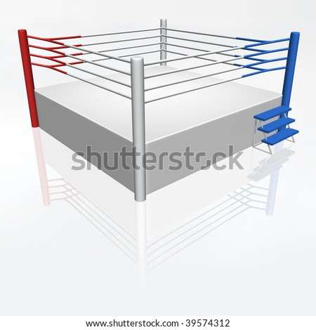 3D boxing ring with red and blue corner - stock photo