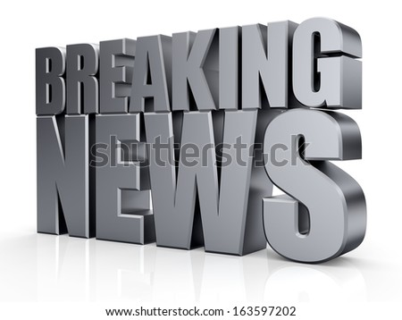 3D Breaking word on white isolated background - stock photo