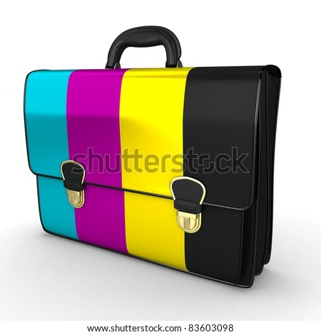 3d briefcase with cmyk ink on white background