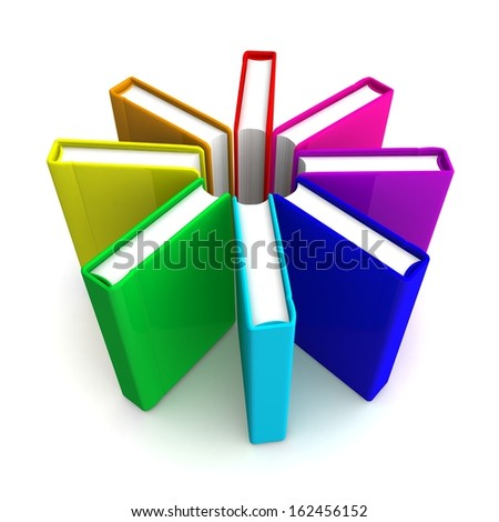 3d bright colored book the delivered in a circle on a white background - stock photo