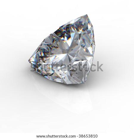 3d  brilliant cut diamond isolated on white background - stock photo