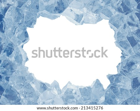 3d broken blue ice background, rectangle hole, frame - stock photo