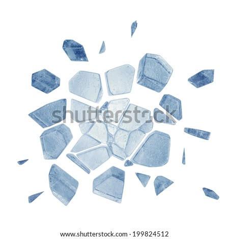3d broken faceted blue ice pieces isolated on white background - stock photo