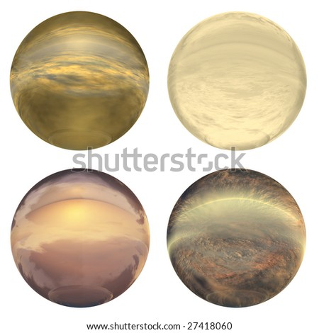 3d brown and yellow glass spheres set  isolated on white background,ideal for 3D symbols, signs or web buttons. It is a sphere reflecting a blue sky with clouds - stock photo