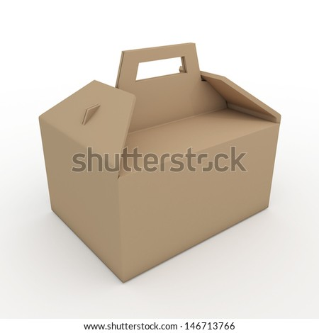 3d brown carton packaging handle box for heavy products with handle in isolated background with clipping paths, work paths included  - stock photo