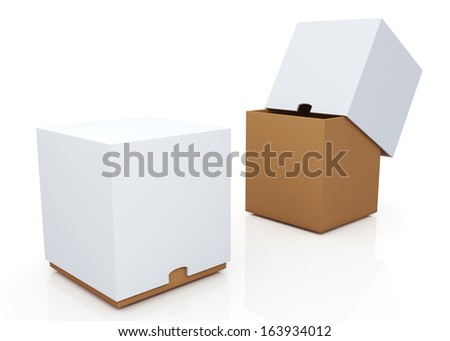 3d brown & clean white boxes with cover  products container blank template and rim cut function pick option for useful core slide in isolated background with work paths, clipping paths included  - stock photo