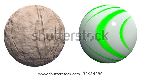 3d brown rock and green stripes spheres set or collection  isolated on white background,ideal for 3D symbols, web buttons or logo designs - stock photo