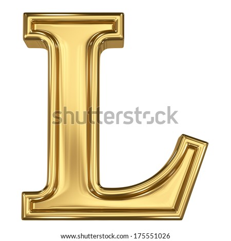 3d brushed golden letter - L. Isolated on white. - stock photo