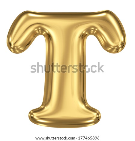 3d brushed golden letter - T. Isolated on white. - stock photo