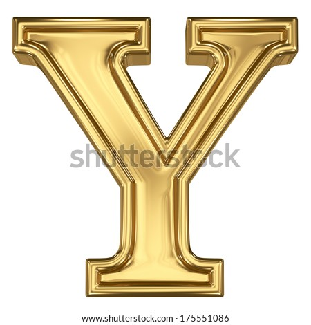 3d brushed golden letter - Y. Isolated on white. - stock photo