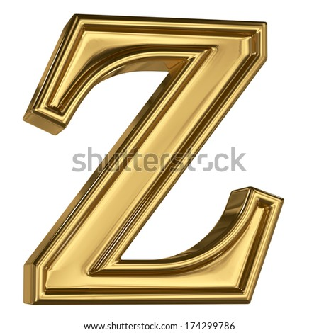 3d brushed golden letter  - Z. Isolated on white.