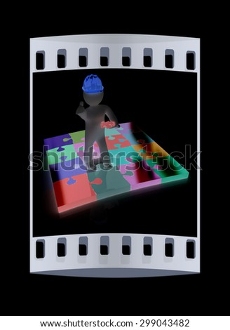 3d builder and puzzles. 3d render. The film strip - stock photo