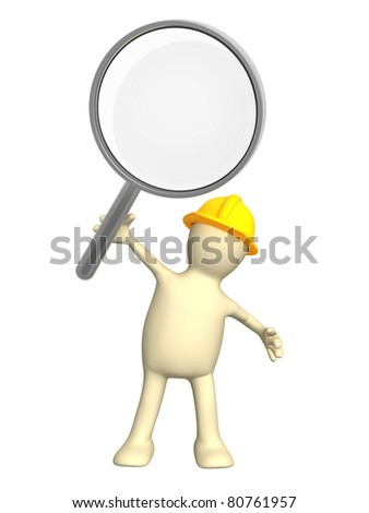 3d builder with loupe. Isolated over white - stock photo