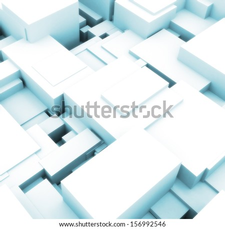 3d building cubes bright lights  - stock photo