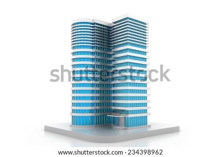 3D building model - stock photo