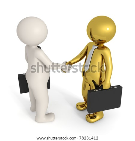 3d busines people making a deal and shaking hands - Isolated - stock photo