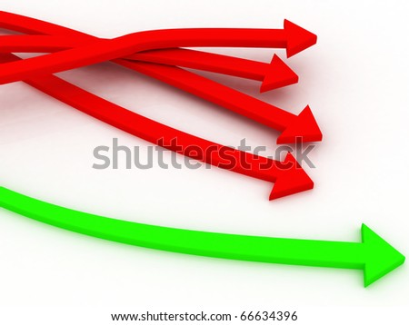 3d Business arrows chasing - stock photo