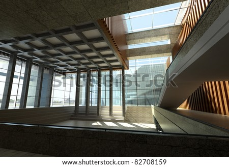 3d Business building interiors - stock photo