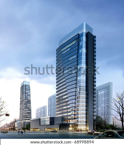 3d Business buildings - stock photo