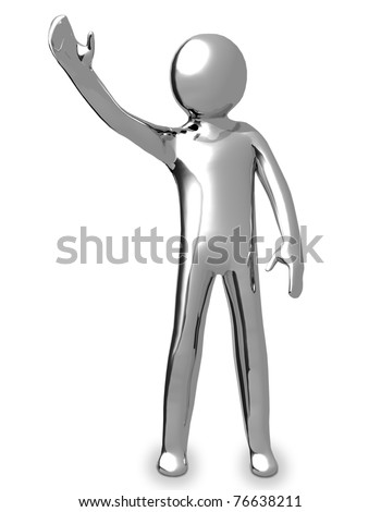 3D business chrome man says hello - stock photo