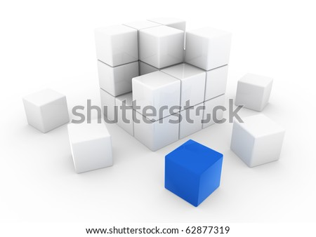 3d business cube white blue isolated on white background - stock photo